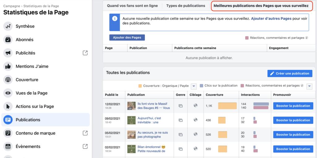 Statistiques Facebook meilleures publications des Pages que vous suivez